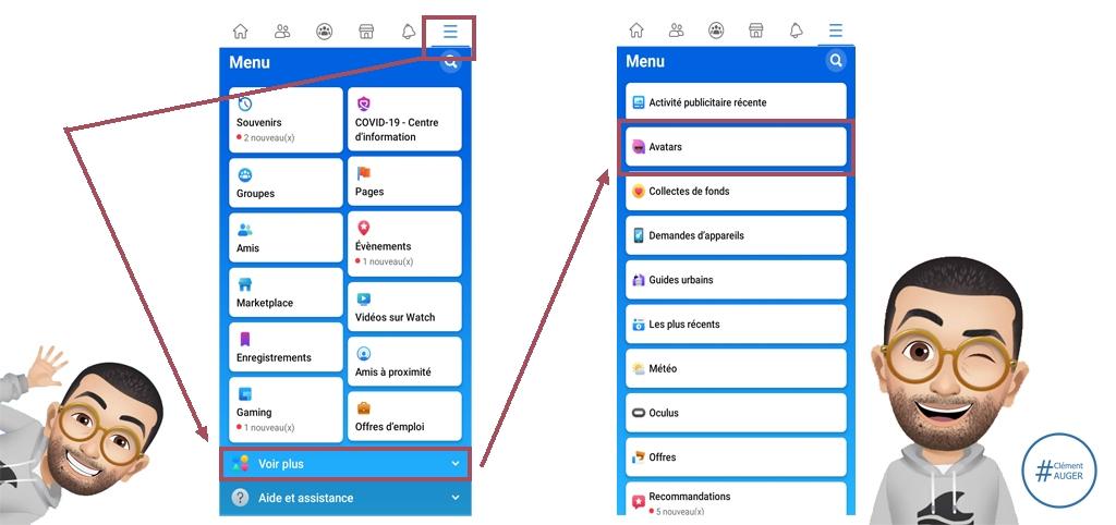 "Visuel : menu Facebook ""Comment créer un avatar Facebook ?"""